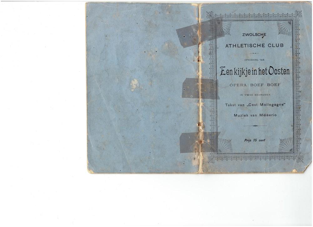 1895 Programmaboekje van de opera 'Een kijkje in het Oosten Opera Boef Boef'