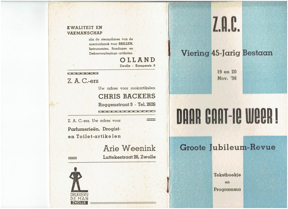 1938  Programmaboekje van de revue 'Daar gaat-ie weer!