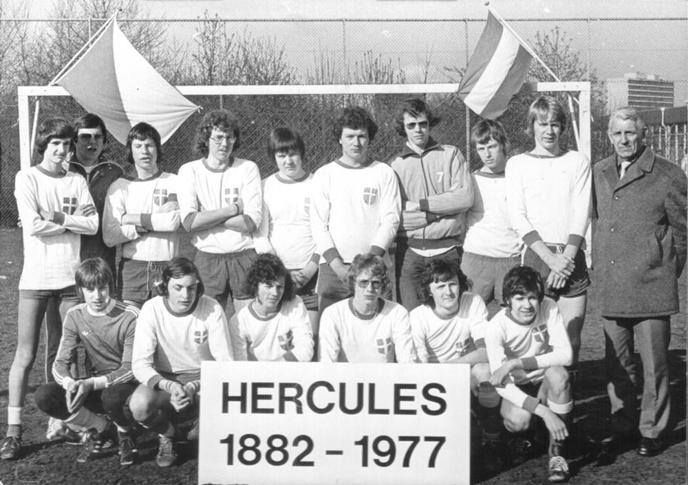 1977 Voetbal Z.A.C. A1 tijdens een toernooi bij Hercules