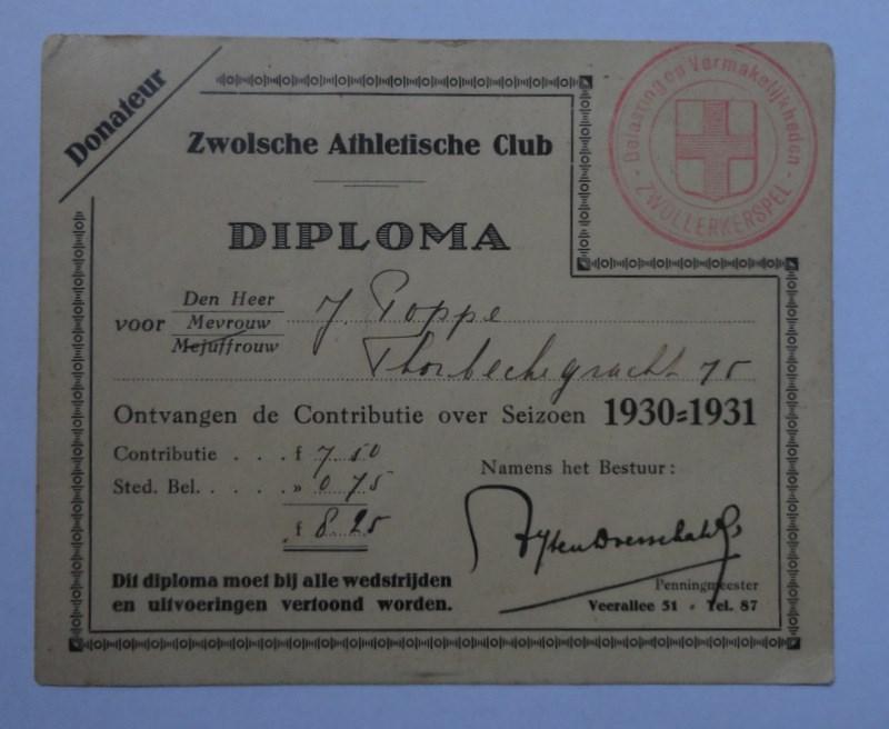 1929 Donateurskaart seizoen 1929-1930