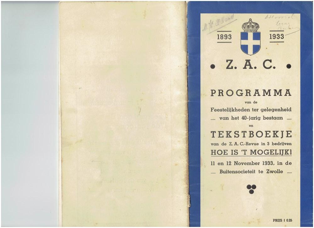 1933  Programmaboekje van de revue 'Hoe is 't mogelijk!'