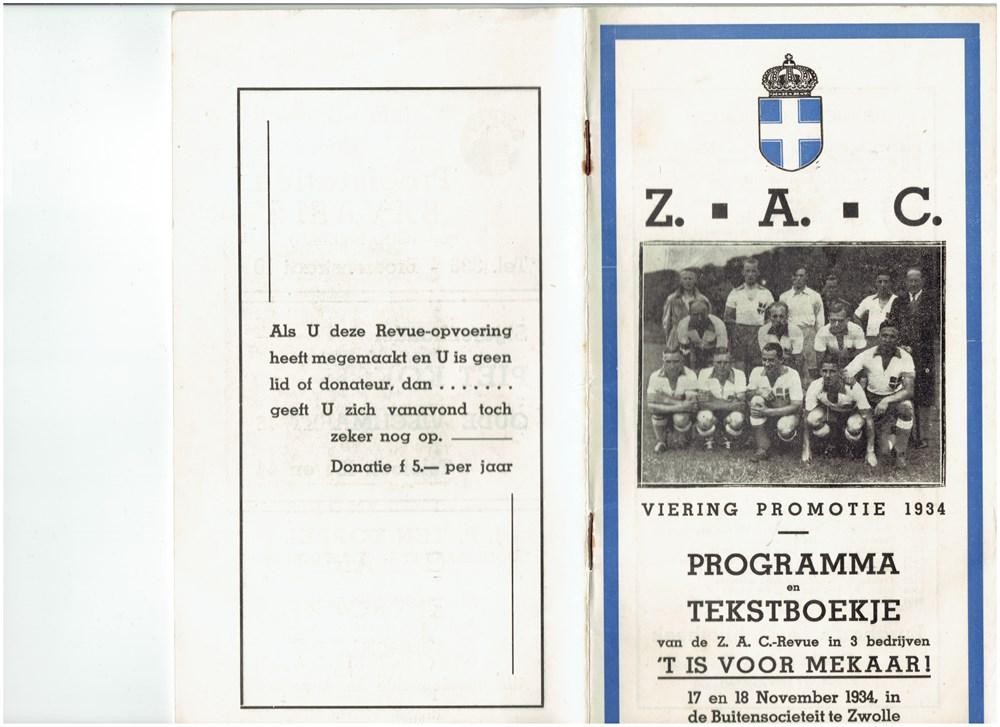 1934 Programmaboekje van de revue 't Is voor mekaar!' ter gelegenheid van de viering van de promotie