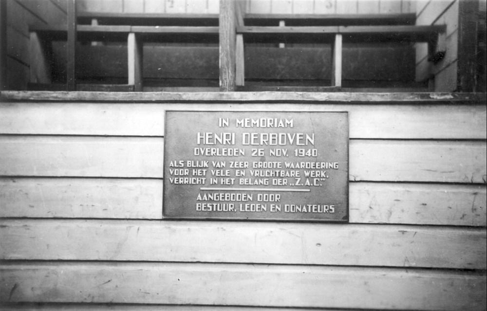 1941 Verenigingsleven Gedenkplaat H. Derboven