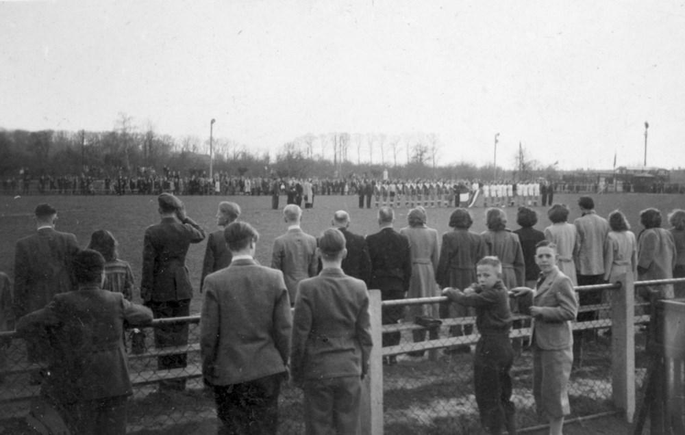 1948 Handbal Internationale wedstrijd op Z.A.C. terrein