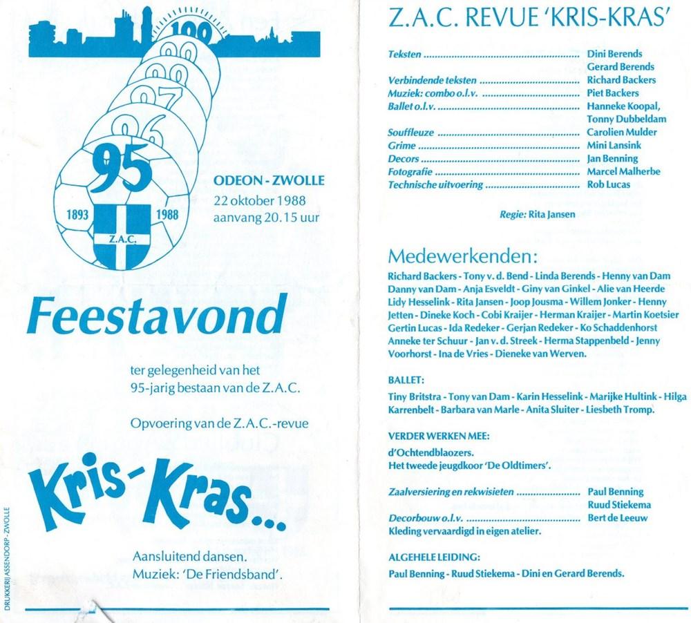 1988 Programmaboekje revue 'Kris-Kras'